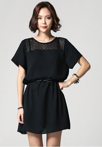 韓風時裝  A線短袖zalora taiwan 時尚購物網鞋子蕾絲連衣裙 G1034, 服飾, 洋裝