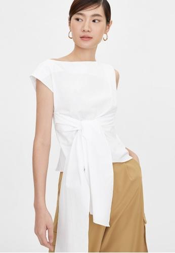 Pomelo white Front Tie Asymmetrical Sleeve Blouse - White E3270AA5F6F211GS_1