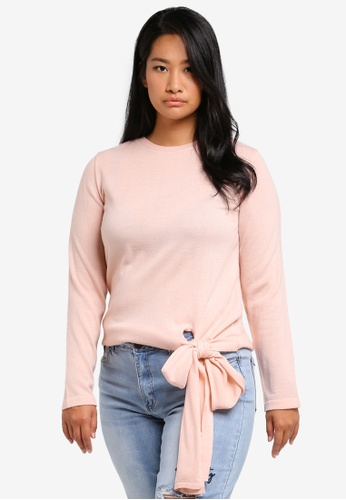 LOST INK PLUS pink Plus Size Jumper With Extreme Bow LO776AA0SZ4PMY_1