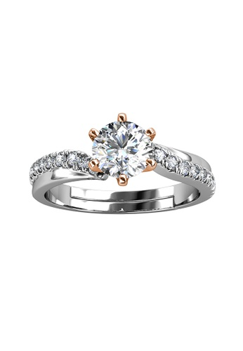 Her Jewellery silver CELÈSTA Moissanite Diamond - Les Solitaire Ring by Her Jewellery 01A21AC5BF2FDCGS_1