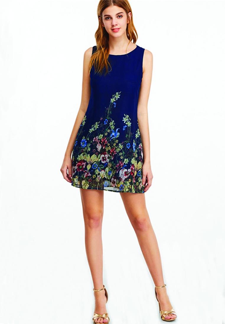 blue Navy Mini Floral Dress Shift ICONIC x5X5wqZI