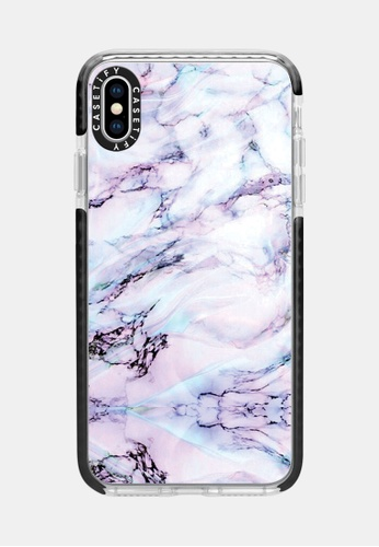 Marble Swirl Protective Impact Case for iPhone XS Max - Black