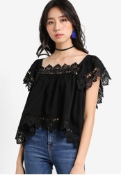 KLEEaisons black Crochet Lace Trim Top KL492AA16YLFMY_1