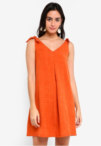 ZALORA orange Tie Detail A-Line Strap Dress 03DF9AA81F935DGS_1