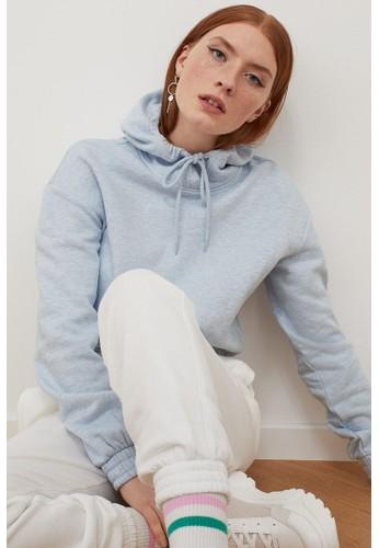 H&M blue Cropped hoodie 0C1D6AADE5BA0BGS_1