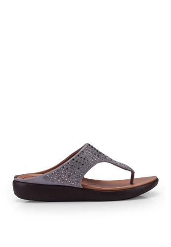 NOVENI grey Metal Detail Toe Post Sandals E7F6CSH0E23C87GS_1