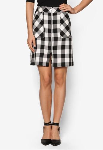 格紋拉鍊A 字短裙、 服飾、 印花時代DorothyPerkins格紋拉鍊A字短裙最新折價