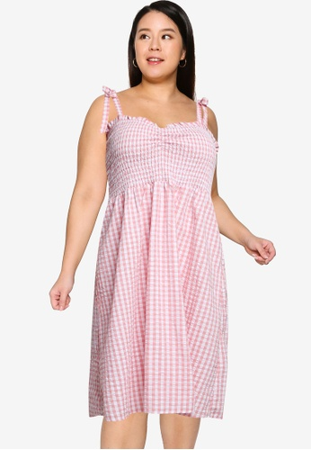 Cotton On pink Plus Size Shirred Samantha Midi Dress 5029CAA4CCB9C4GS_1