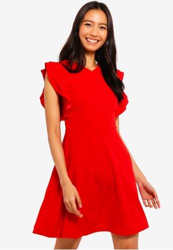 Mela London red Side Ruffle V-Neck Dress 4459AAACCF36FBGS_1