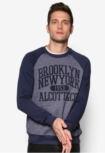 Brooklyn 文zalora 衣服尺寸字設計插肩長袖衫, 服飾, 服飾