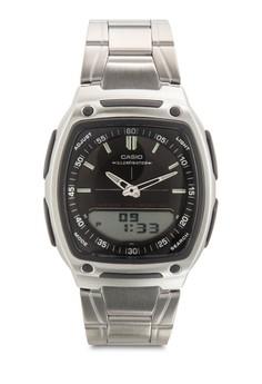 AW-81D-1AVDF 雙顯不銹鋼男錶