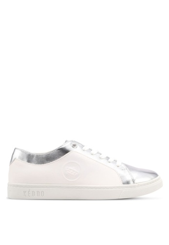 Keddo white Silver Toe Area Basic Lace-Up Sneakers 8EE41SHD6B7345GS_1
