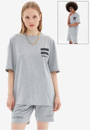 Trendyol grey Oversized T-Shirt 398EBAAD87FC5AGS_1