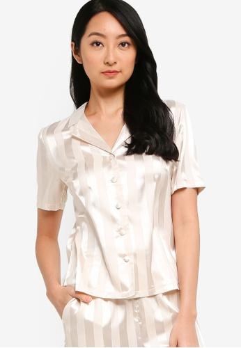 ZALORA BASICS beige Lounge Stripe Shirt C7254AA01DFA23GS_1