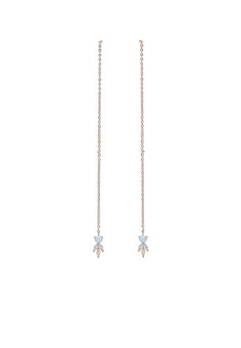 Orelia London gold Golden Plate Opal Stone Thread Thru Long Earrings OR747AC0SC45MY_1