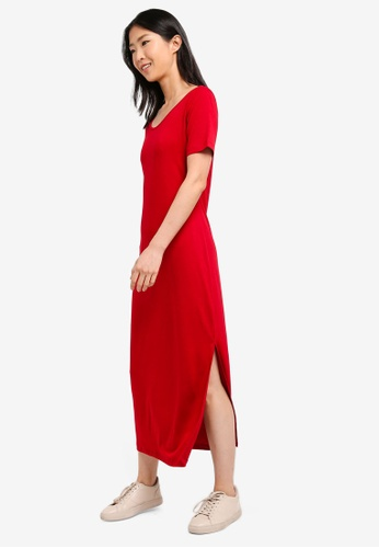 ZALORA BASICS red Basic Midi T-Shirt Dress BC6B1AAF789B92GS_1