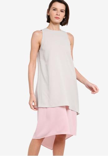 ck Calvin Klein grey SOFT STRETCH CREPE DRESS A2E97AA7539F2CGS_1