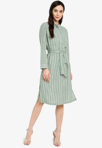 ZALORA WORK green Stand Collar Long Sleeve Dress A9120AA299466CGS_1