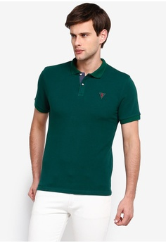 473fc7b5 Guess green Embroidered Guess Question Mark Short Sleeve Polo Shirt  7C047AA594E683GS_1