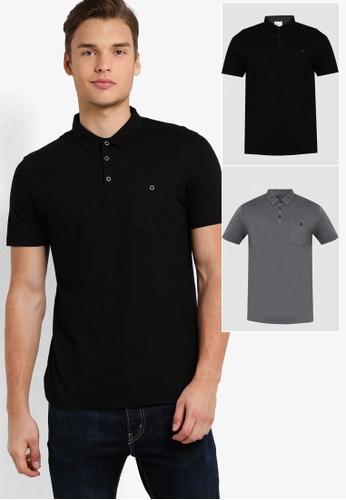Burton Menswear London black and grey Black & Dark Grey 2 Pack Jersey Polo Shirt BU964AA39HIYMY_1