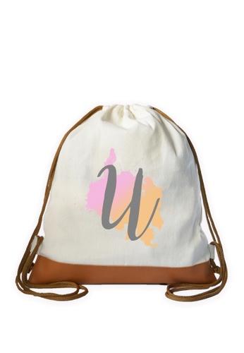 Myriad Print Concepts white Initial Drawstring Bag MY418AC0ILXPPH_1