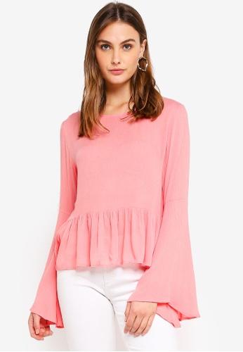 Glamorous pink Long Sleeved Flare Top 3C060AADC2B43CGS_1