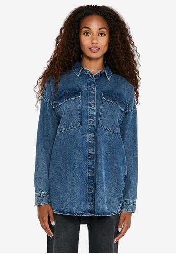 Noisy May blue Lanny Loose Fit Denim Shirt 6971AAA7FBE5ACGS_1