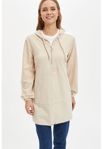 DeFacto 米褐色 Long Sleeve Cotton Sweatshirt Tunic 240B4AA2CFCC98GS_1