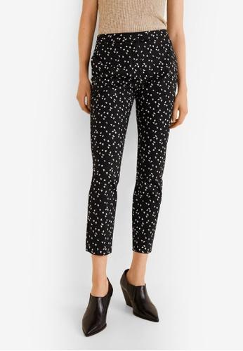Mango black Printed Trousers B4B7DAAB0BCD37GS_1
