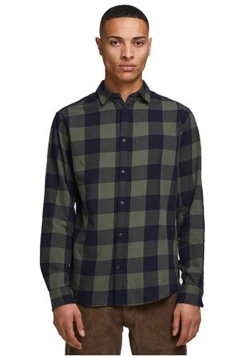 Jack & Jones green Gingham Twill Shirt 3A758AAD7F7E25GS_1