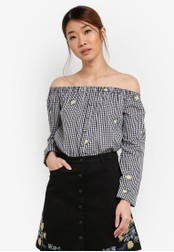 Something Borrowed multi Button-Down Off Shoulder Top B71CFAA2ED9ACFGS_1