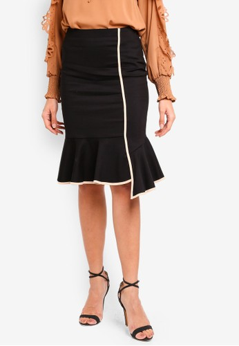 bYSI black Contrast Piping Fluted Skirt 5F4B2AA83E3A85GS_1
