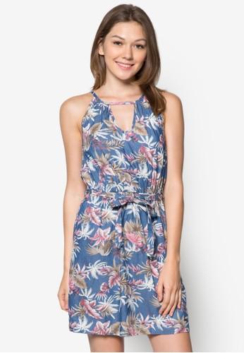 Oihane 削肩圓領印花洋裝esprit手錶專櫃, 服飾, 服飾