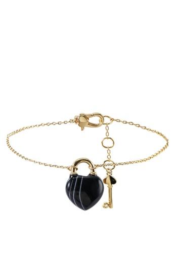 kate spade new york black Open Heart Stone Lock Bracelet (cv) 32292AC9147402GS_1