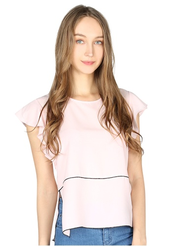 London Rag pink Dusty Pink Short Flutter Sleeve Casual Top 32AD3AAE751169GS_1