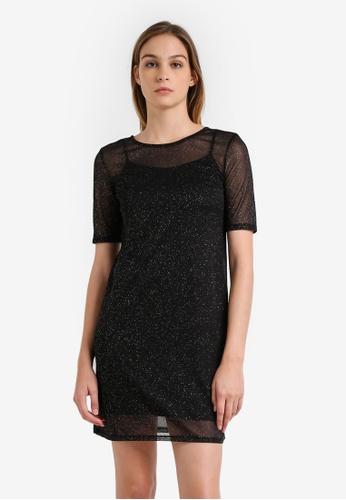 River Island black Glitter Tee Dress RI009AA0RU9XMY_1