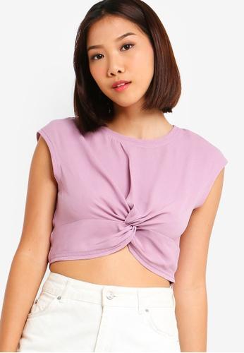Something Borrowed 紫色 Twist Crop Top 9E926AA38B4DCDGS_1