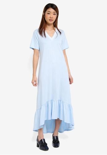 Something Borrowed white and blue Stripe Sleeve Midi Dress 919BFAAA1805FFGS_1