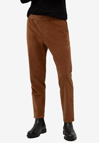 Mango Man brown Corduroy Tapered Cropped Pants E83CDAA19C49DBGS_1
