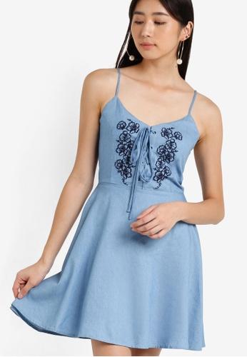 ZALORA blue Love Embroidered Cami Fit & Flare Dress AC113AAEFF3E68GS_1