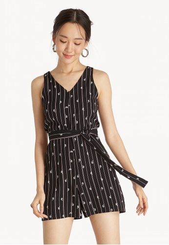 1bd992df6638 Shop Pomelo Sleeveless Waist Tie Floral Romper - Black Online on ZALORA  Philippines