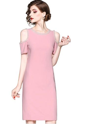 Sunnydaysweety pink New Open Shoulder Chiffon One Piece Dress CA071837PI 954E6AAA372E61GS_1