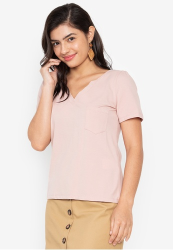 Wear Kris pink Kent Vneck Shirt with Front Pocket 362EEAA79A7BB9GS_1