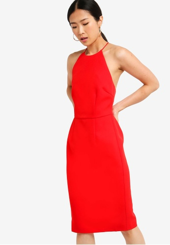 ZALORA BASICS red Basic Halter Neck Bodycon Dress 8A8E2AADBAC6F5GS_1