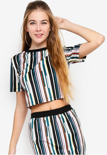 Something Borrowed green Striped Crop Top D9516AA4937945GS_1