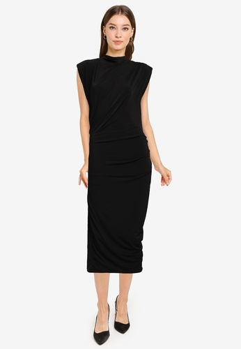 Goddiva black High Neck Midi Dress With Shoulder Pads 15008AAF6FF6C7GS_1