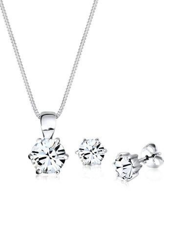 經典款施華洛世奇水晶 925 純銀首飾組合, esprit tote bag飾品配件, 項鍊