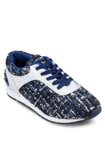 暗紋拼接厚底運動鞋, 女鞋, 休zalora 評價閒鞋