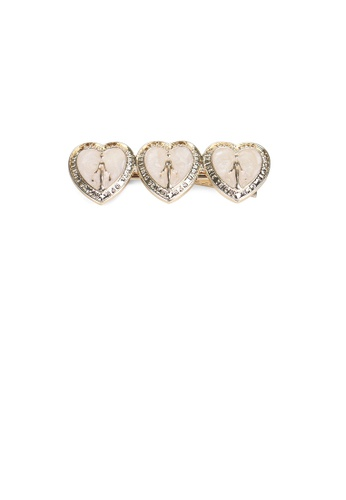 Glamorousky silver Fashion Simple Plated Gold White Heart-shaped Hair Clip ED3BEACA36DD1FGS_1