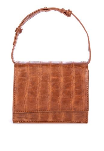 Spring Fling brown Faux Croc Hand Bag 836BDACED50DCDGS_1